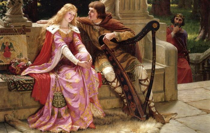 Tristán e Isolda, por el artista Edmund Blair Leighton (1853–1922).